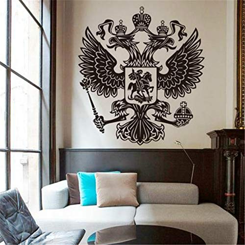 JXTK Art Design Dekoration Vinyl Russische Energie Adler Wandaufkleber Removable House Decor Land Tier Schöne Decals_58x63cm -