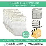 Kit 12 Sacchetti Compatibile Per Vorwerk Folletto VK135/136 + 12 Profumini + 2 Filtri Griglia Motore + 2 Filtri HEPA - Garanzia 24 Mesi Figevida