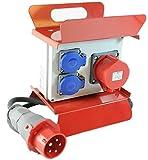 Mobiler Baustromverteiler/Standverteiler 2 x 230V/16A Schuko & 1 x CEE 16A/400V verdrahtet mit Zuleitung