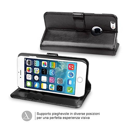 OCASE Cover iPhone 6S Plus [Portafoglio] [pellicola vetro temperato schermo inclusa] Custodia di Pelle Case Flip per iPhone 6 Plus Garanzia a Vita, Nero Nero