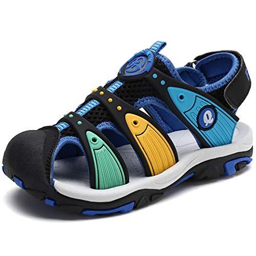 FLARUT Unisex-Kinder Sport Outdoor Trekking Sandalen Geschlossene Zehe Sommer Jungen Strand Schuhe Kinder-Sommerschuhe Turnschuhe(Blau B,27)
