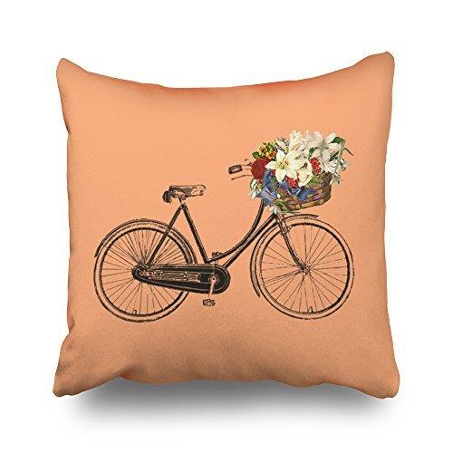ymot101 apricot Fahrrad Blume Kissen 45cm x 45cm kurz Floss Kissen mit Reißverschluss, Überwurf-Bezüge, Überwurf Kissen für Sofa Home Decor (Blume Floß)