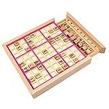 ZooBoo Zahlenspiel Sudoku Holzbrett Spielzeug - Luxusausgabe Hölzern Spielbrett Jiugongge Puzzle Nummeriert Würfel Umweltfreundlich Intelligenz Entwicklung für Kinder Anfänger mit Aufgaben - 81 Stück Buchenholz (Rosa)