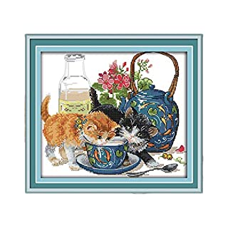 Curious Cat Cross Stitch Kit Aida 14ct 11ct Count Printed Canvas Stitches Embroidery DIY Handmade Needlework,Cotton Thread,14ct unprint Canvas