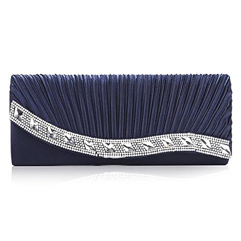 Damara Sac De Soirée Femme Chaine Amovible Strass Plissé Satin Diament Fabriqué,Bleu Foncé