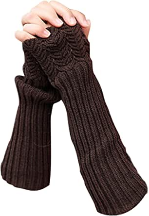 NOVAWO Donna Inverno Guanti senza dita maglia lunghi Manicotti