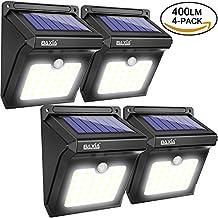 BAXiA Focos Solares Exterior, Luz Solar Jardín 28 LED con 400 LM, Luces de Exterior con Sensor de Seguridad por Movimiento Inalámbricas y con Batería Solar para Muros Exteriores, Jardines, Patios y Terrazas [4 Paquetes]