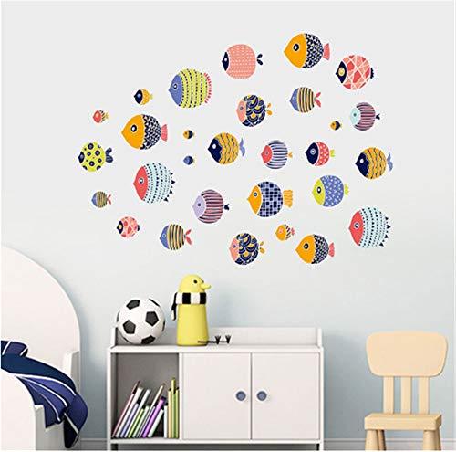 Cartone animato colorato pesci mare mondo underwater wall stickers per la camera dei bambini partito decorazione della casa impermeabile bagno art decalcomanie