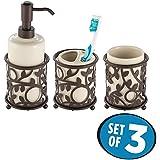 mDesign Juego de 3 accesorios de baño decorativos – Set de baño formado por dosificador de jabón, portacepillos de dientes y vaso – Conjunto de baño de cerámica/metal – beige/bronce