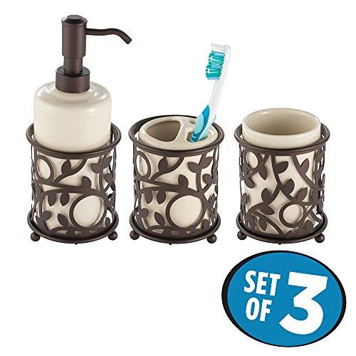 mDesign dekoratives 3er-Set Badaccessoires - Bad-Accessoires-Set, bestehend aus Seifenspender, Zahnbürstenhalter und Zahnputzbecher - Badezimmer Set aus Keramik/Metall - beige/Bronze