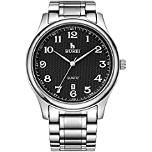 BUREI Casual Business Analog Mens Watch Simple Date Quartz Gents Watch with White Arabic Numbers Black Dial and Stainless Steel Band Water Resistant 3 ATM Gifts for Men