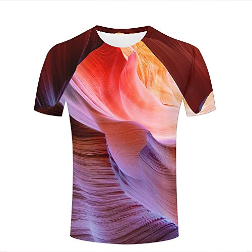qianyishop Herren 3D Print Creative Colored Rocks Graphic Summer Casual Short Sleeve T Shirts Fashion Couple Tees L -