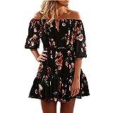 Bekleidung Kleid Loveso Sommerkleider Damen Elegante Blumenmuster Schwarz Schulterfrei Trägerlos Minikleid Partykleider Kurze Kleid Abendkleider ((Größe):36 (M), Schwarz)