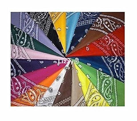Pack of 12 Colourful Paisley Bandanas 100% Cotton Bandana Cowboy Dress Up Set by Lizzy®