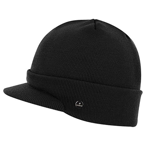 Lierys Fine Merino Knitted Hat Ladies  Men s in Black (Visor 4.8 cm) 97ebe7c6b05