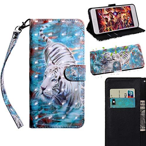 BONROY Huawei P Smart Plus/P Smart+/Nova 3i Hülle Ledertasche Schutzhülle Case Tasche mit Standfunktion und Card Holder-(TX-Tiger)