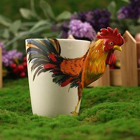 ZIMEI Fatto a mano 3D Rooster in ceramica tazze, tazzine, ad alta temperatura, forno a microonde 420ml , 2 set - Starbucks Tazze E Tazzine