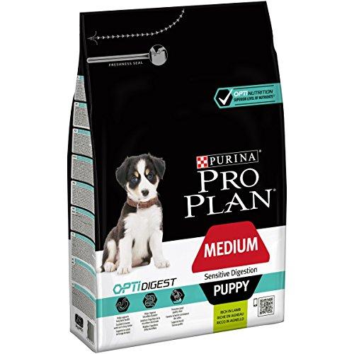 Pro Plan Dog Medium Puppy Sensitive Digestion Trockenfutter Beutel Reich an Lamm, 1er Pack (1 x 3 kg) -