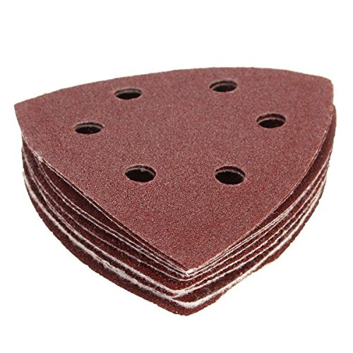 Nrpfell 10x Nylon Delta Sand Papierunterlagen - 90mm Dreiecke - 40, 60, 80, 100 & 120 Grit Schleifblaetter -