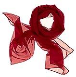 Dolce Abbraccio Damen Schal Stola Halstuch Tuch aus Chiffon für Frühling Sommer Ganzjährig Rot