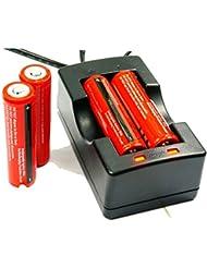 4PCS Angopower 18650 Pilas recargables Li-Ion Batería Litio Recargable Baterías (paquete de 4pcs 3000mAh 3.7V 18650 Li - ion BRC bateria recargable para linterna LED antorcha,, no para Cigarrillos electrónicos ) & Cargador Carga para 2 Batería Pila Litio BRC 18650 bateria recargable