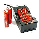 Angopower 4 pzzi 18650 batteria Ricaricabile protetta 3.7 Volt 3000 mAh e caricabatterie AC 100-240V per Batteria 18650 EU( per lampade torcia) ;Non per Sigarette Elettroniche