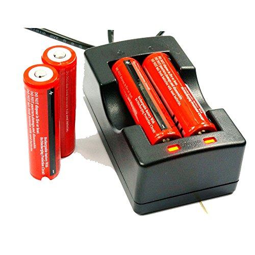 4X Angopower Wiederaufladbare 3.7V Lithium-Ionen 18650 Akkus (3000mAh/3,6V-3,7V/30A/Li-Ion, 4er Pack ) und 2 Kanal Ladegerät für 18650 Akku Batterie - Anwendbar für Taschenlampen, nicht für Elektronische Zigarette Test
