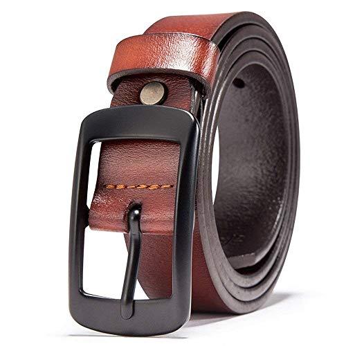 Cinturón De Cuero De Cuero Puro Para Hombres Regalos Cinturón Para Jóvenes Jóvenes Mareas Simples Gente Cintura Fashion (Color : Colour, Size : 120cm)