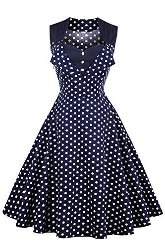 Babyonline Damen 50er Vintage Retro Polka Dots Ärmellos Sommerkleid Swing Cocktailkleider S-4XL Dunkel Blau