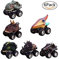 Pull Back Dinosaur Cars,6 Pack Dinosaur Toys Truck Inertial Cars with Big Tire Wheel Creativity for 3-14 Year Old Kids Cars Childrens Birthday Gift By Aolvo