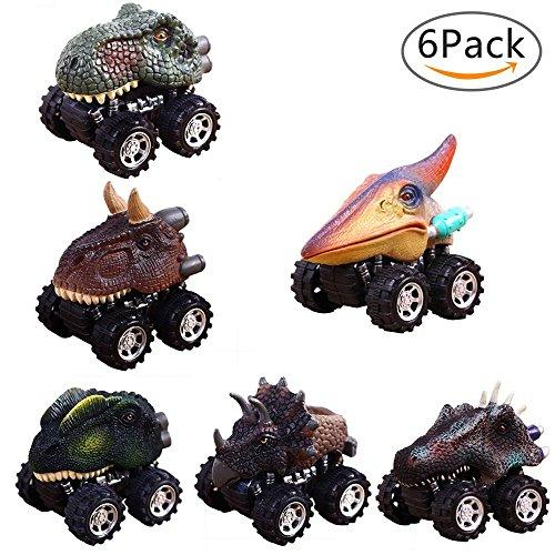 Pull Back Dinosaurier Cars, 6Stück Dinosaurier Spielzeug Truck Inertial Cars mit Big Tire Rad Kreativität für 3–14Jahre Alt Kinder Cars Kinder Geburtstag Geschenk von AOLVO Dinosaur Cars (Monster Trucks Für Kleinkinder)