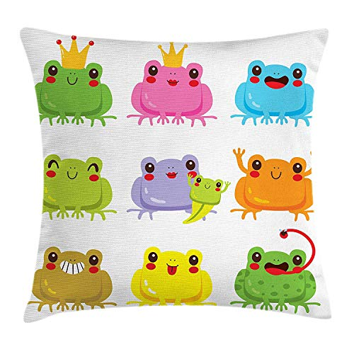 BUZRL Kawaii Throw Pillow Cushion Cover, Colorful Kawaii Frogs with Different Poses Cute King and Queen Amphibian Animals, Decorative Square Accent Pillow Case, 18 X 18 inches, Multicolor