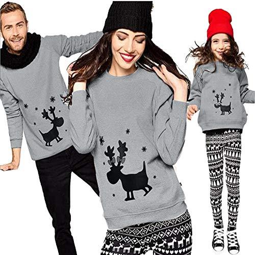 Riou Weihnachten Set Baby Schlaf Kleidung Pullover Pyjama Outfits Set Familie Frohe Weihnachts kostüme Santa Junge Mädchen Familien Pyjamas Set 2Pcs Elch Schlafanzug (4-5 Years, Baby)