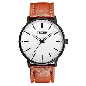 Curren Herren Analoge Quartz Uhren Leder Armbanduhr, Wasserdicht mit Datumsanzeige 5025