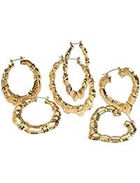 Palm Beach Jewelry - 3 pares de pendientes de aro - Color oro amarillo - Estilo bambú