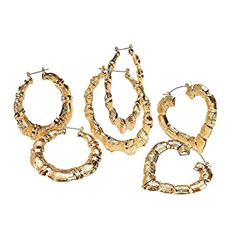 Palm Beach Jewelry 3 Pair Bamboo Style Hoop Earrings Set in Yellow Gold Tone