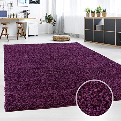 Hochflor Teppich | Shaggy Teppich fürs Wohnzimmer Modern & Flauschig | Läufer für Schlafzimmer, Esszimmer, Flur und Kinderzimmer | Langflor Carpet lila 040x060 cm