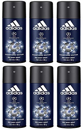 adidas UEFA Champions League Champions Edition Deo Body Spray für Herren mit effektivem Schutz vor Schweißgeruch, 6er Pack (6 x 150 ml)