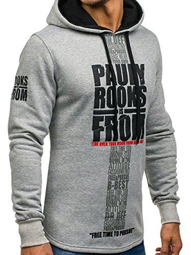 BOLF Herren Sweatshirt Pullover mit Kapuze mit Kordel Top AK72 Grau_JS_04