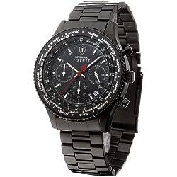 Detomaso Firenze - Reloj de cuarzo para hombres, con correa de acero inoxidable de color negro, esfera negra