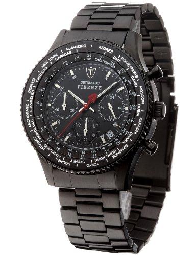 DETOMASO FIRENZE Herren-Armbanduhr Chronograph Analog Quarz schwarzes Edelstahl Armband schwarzes Zifferblatt SM1624C-BK
