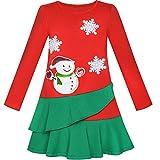 Sunny Fashion Vestito Bambina Manica Lunga Natale Pupazzo di Neve Vacanza Festa 5 Anni