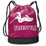 Bgejkos Unisex Freestyle Skier Multifunctional Drawstring School Shoulders Bag Casual Outdoor Daypack
