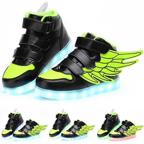 Odema LED Blitzlicht High-Top Flugel unisex Kinder Schuhe Grun