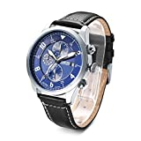 Time100 Multifunktionale Lederarmband Uhr Quarzwerk Armbanduhr Männer Mode Wasserdichte Runde Armbanduhr(Blau,63.7g)