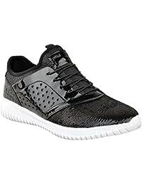 Damen Sneaker mit Schnürung - Schuhe im Glitzer-Look - Schwarz Glitzer - EUR 39
