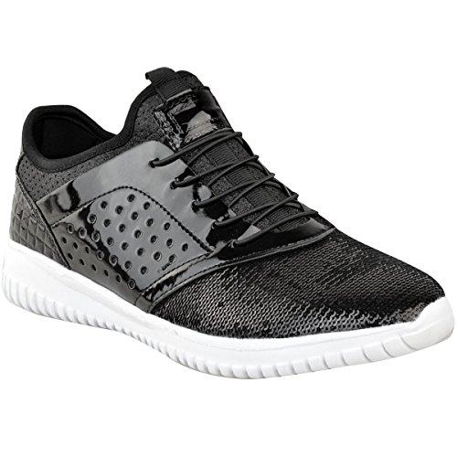 0af17354da5528 Fashion Thirsty Damen Sneaker mit Schnürung - Glitzer-Verzierung - Schwarze  Lackoptik - EUR 36