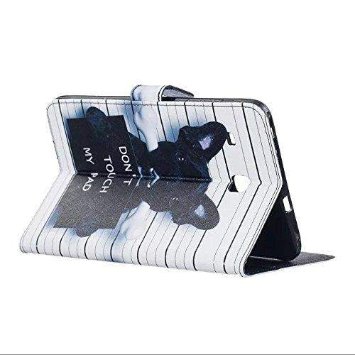 Etsue Kunstleder Schutzhülle für Samsung Galaxy Tab E 8.0/ T377/T375 Leder Tasche Bookstyle Hülle Flip Case Wallet Cover, Bunte Retro Muster Schutz Hülle Etui Schale Weich TPU Innere mit Magnetverschl Komisch Hund