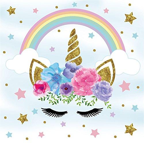 YongFoto 1,5x1,5m Vinyl Foto Hintergrund Einhorn Netter Unicorn Kopf Farbige Sterne Regenbogen Fotografie Hintergrund für Geburtstagsfeier Babydusche Kinder Baby Mädchen Fotostudio Requisiten - Regenbogen-farbigen Sternen
