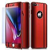 NALIA Coque Integrale Compatible avec iPhone 8 Plus / 7 Plus, Mince Housse Avant & Arrière Protection avec Verre Trempé, Ultra-Fine Cover Bumper Telephone Portable Case Etui, Couleur:Rouge